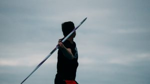 Thomas throwing the Nordic Champion javelin