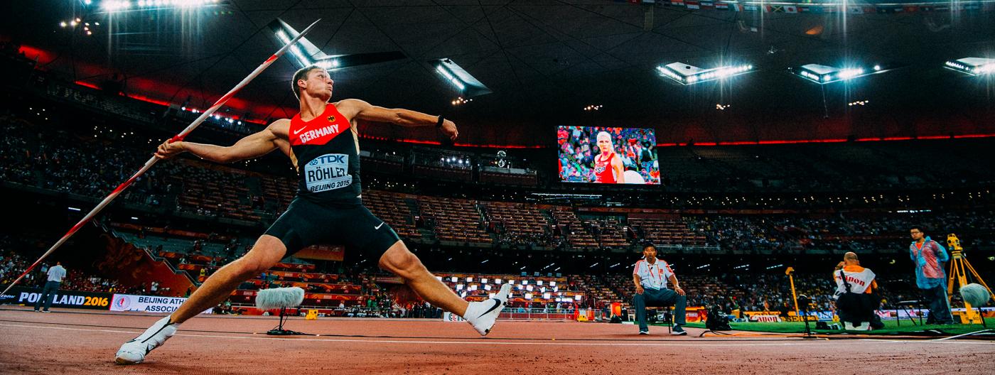 Thomas Röhler - deutscher Speerwerfer und Olympiasieger hier bei der WM 2015 im Finale des Speerwerfen der Männer