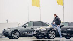 Thomas Röhler beim Fahrsicherheisttarining Nohra im neuen Audi A7 2018 Test