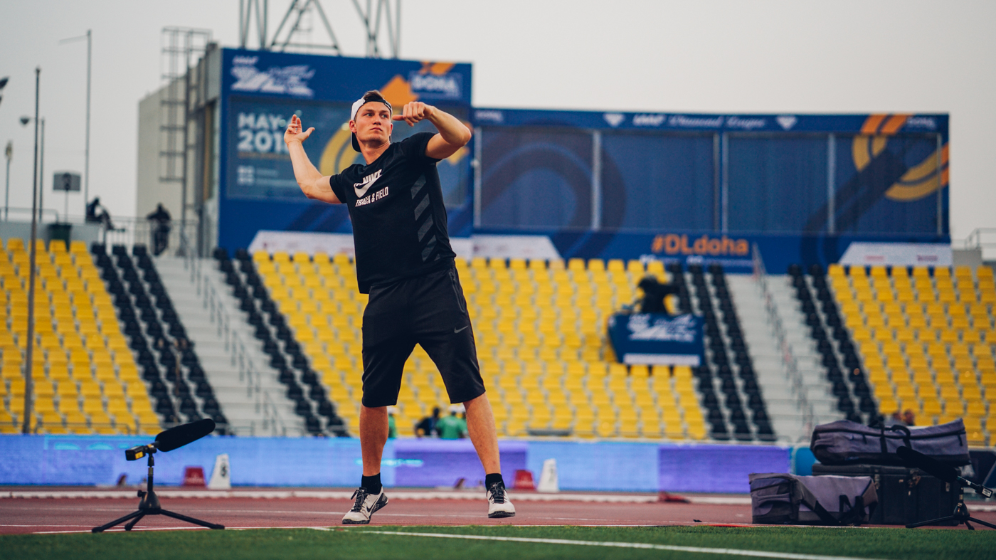 Thomas Röhler testing at Diamond League Doha